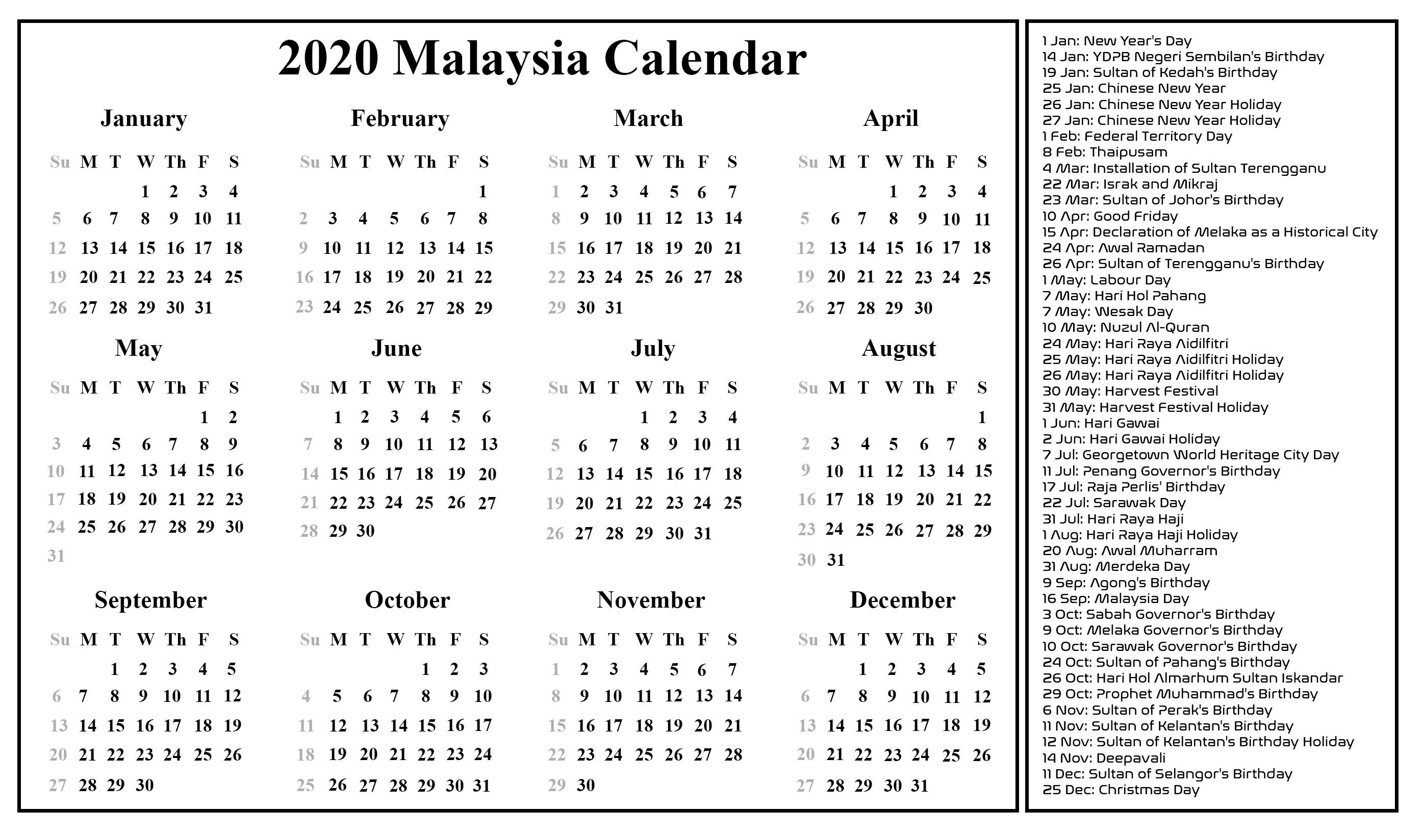 Download Free Blank Malaysia Calendar 2020 Template In Pdf