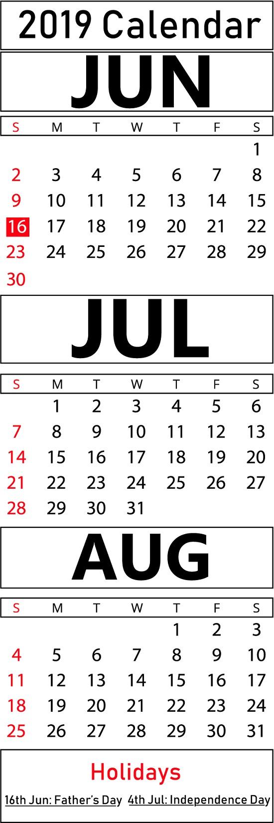 Download Free Printable June & July & August Calendar
