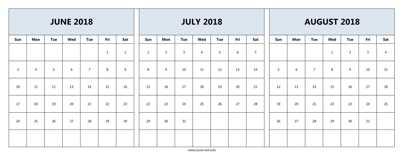 Download June July August 2018 Calendar Printable Free