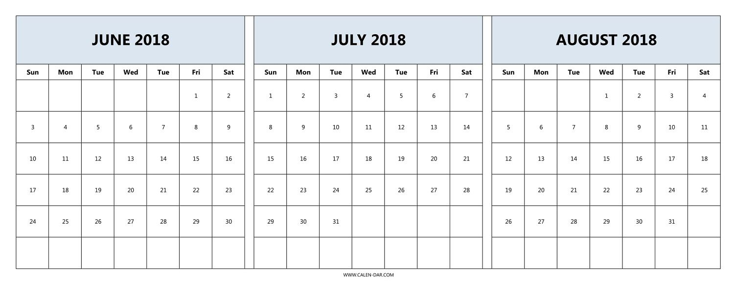 Download June July August 2018 Calendar Printable Free