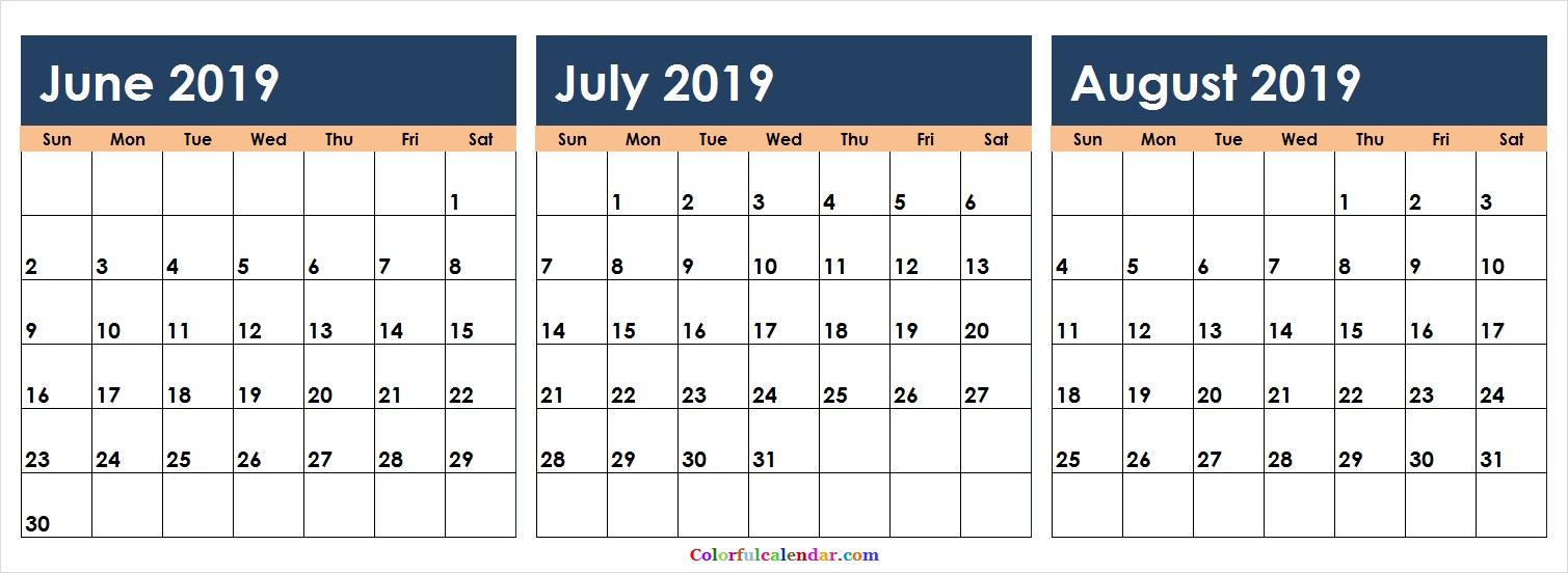 Download June July August 2019 Calendar Colorful   2018 Calendar