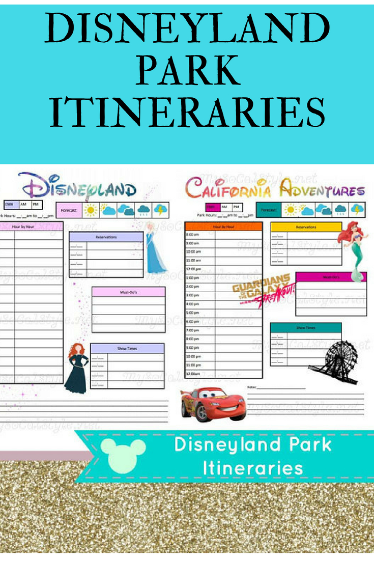 Downloadable Itinerary Templates For Disneyland And
