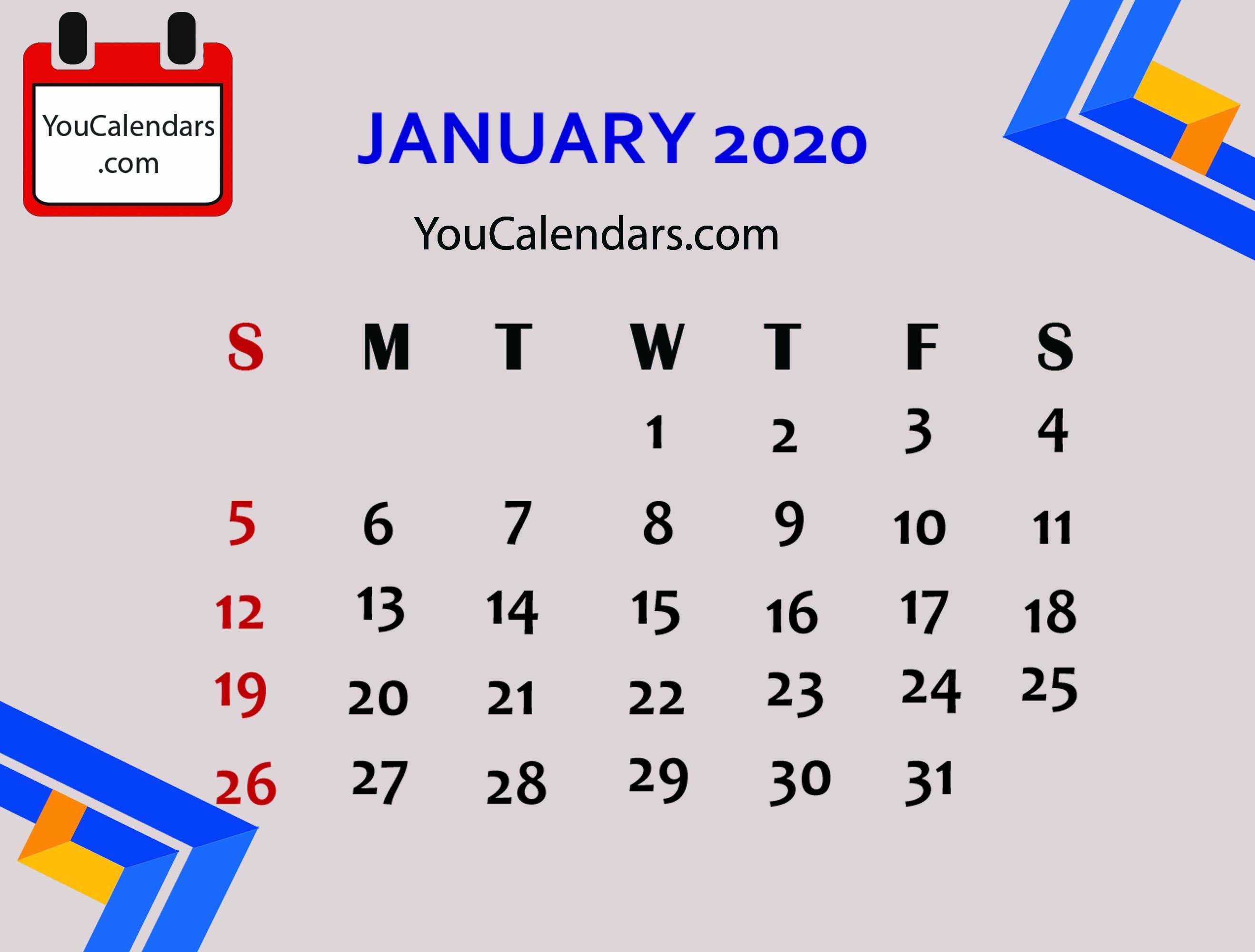 ✅Free January 2020 Calendar Printable Template - You Calendars