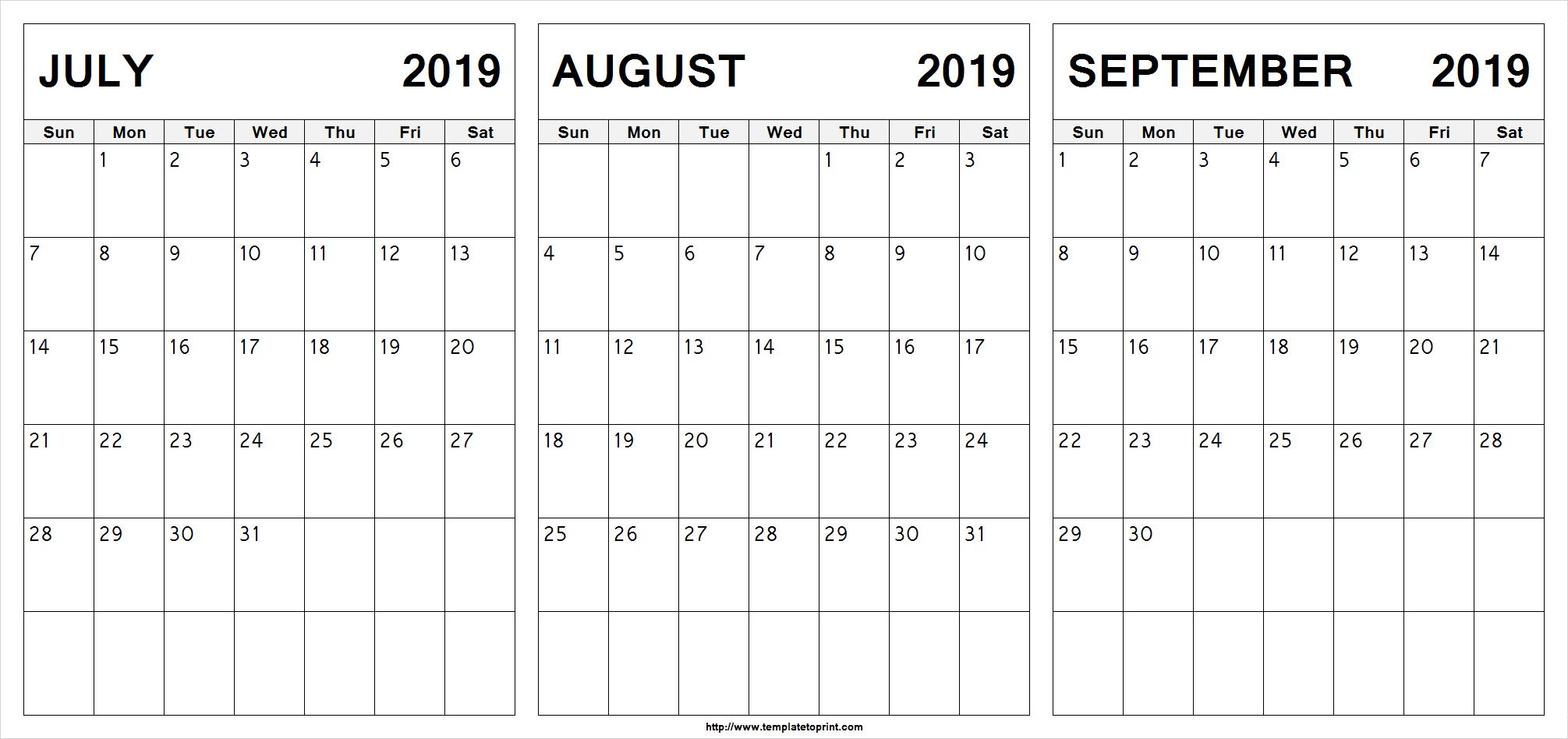 Edit Printable July August September 2019 Calendar | 2019