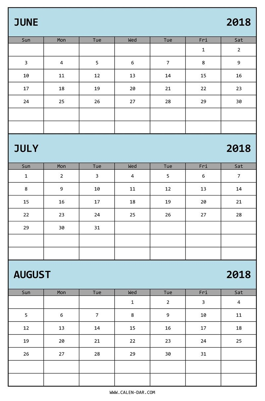 Edit Three Month Calendar 2018 June July August In Ms Excel