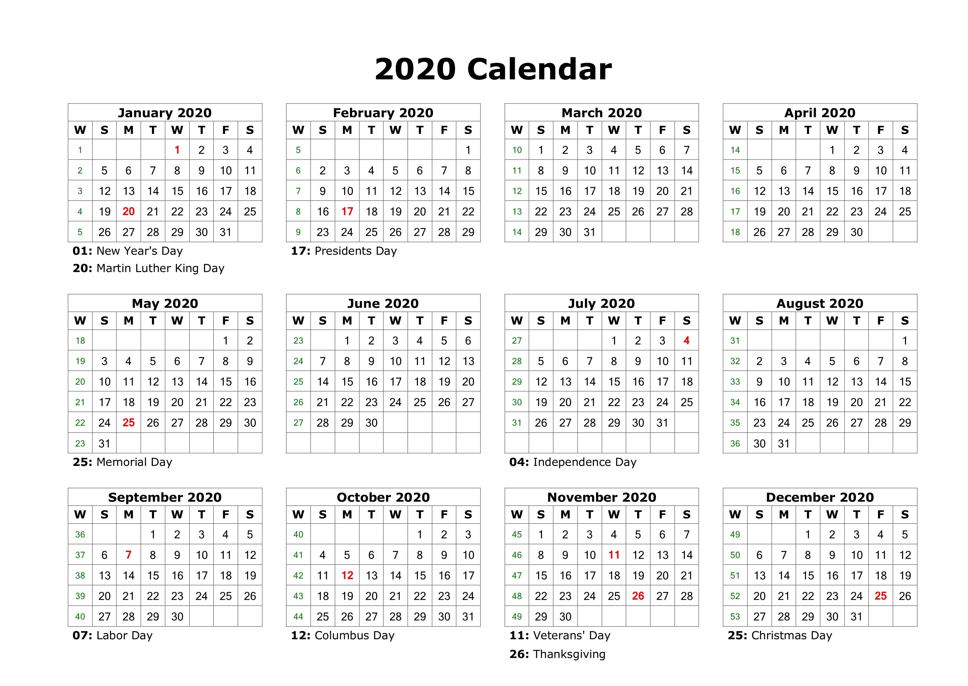 Editable 2020 Calendar Printable Template Blank With Notes