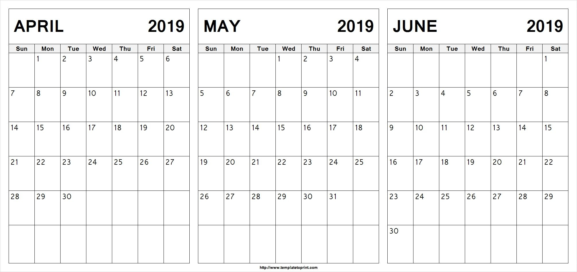 Editable April May June 2019 Calendar #april #may #june