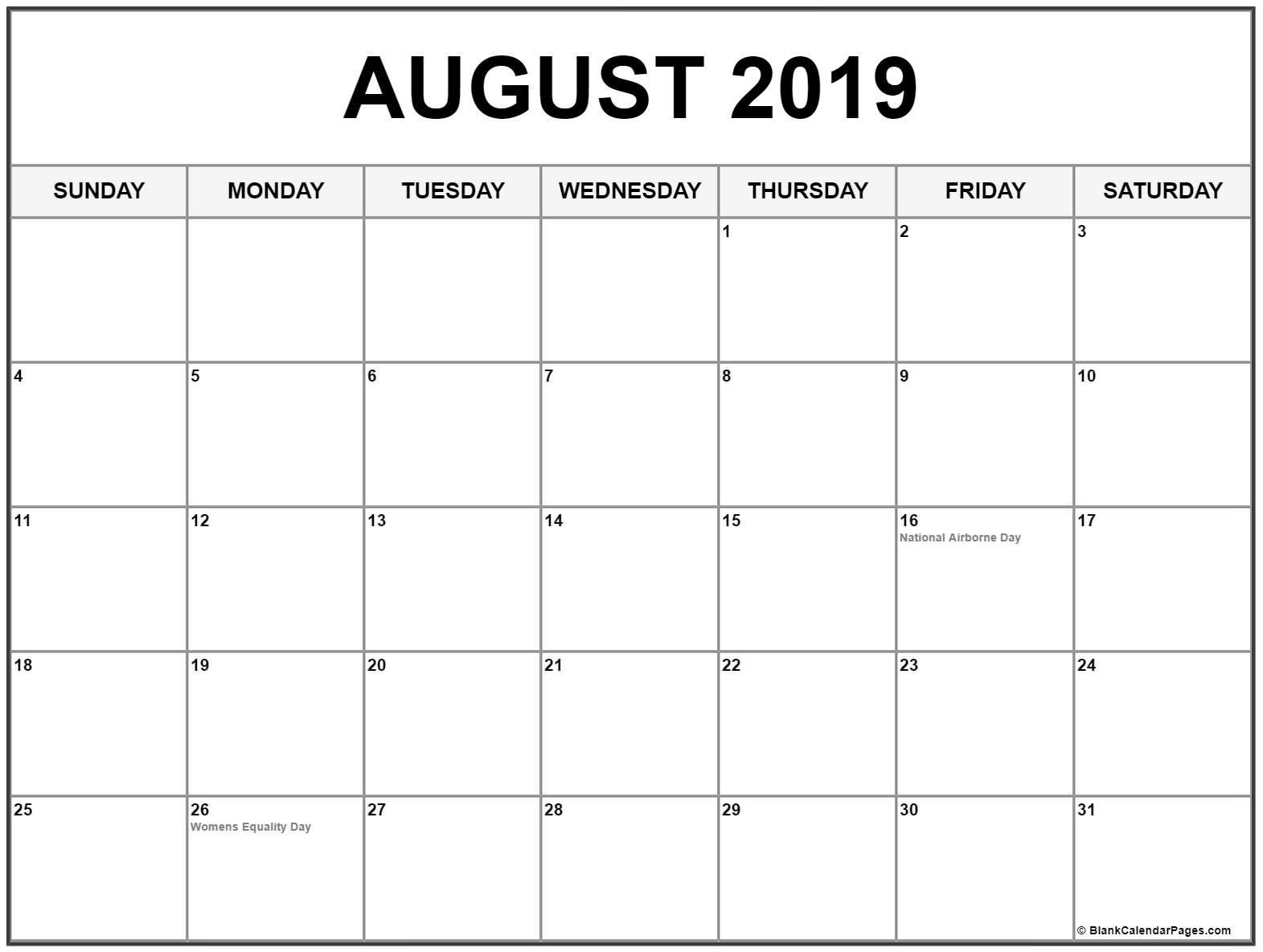 Editable August 2019 Calendar Printable Blank Template With