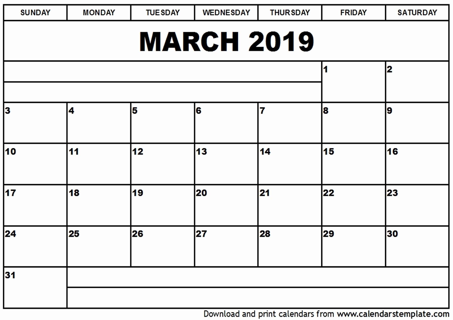 Editable Free Blank Monthly Calendar Template - Calendar