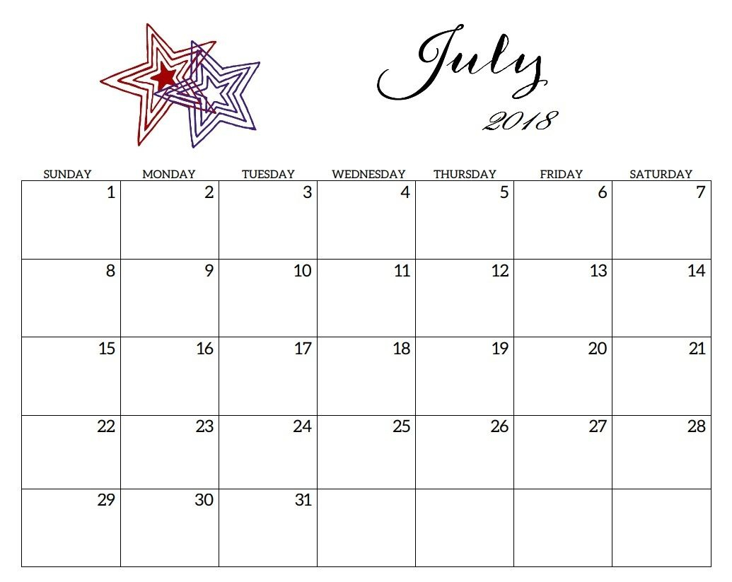 Editable July 2018 Calendar Planner | Calendar 2018 | 2018
