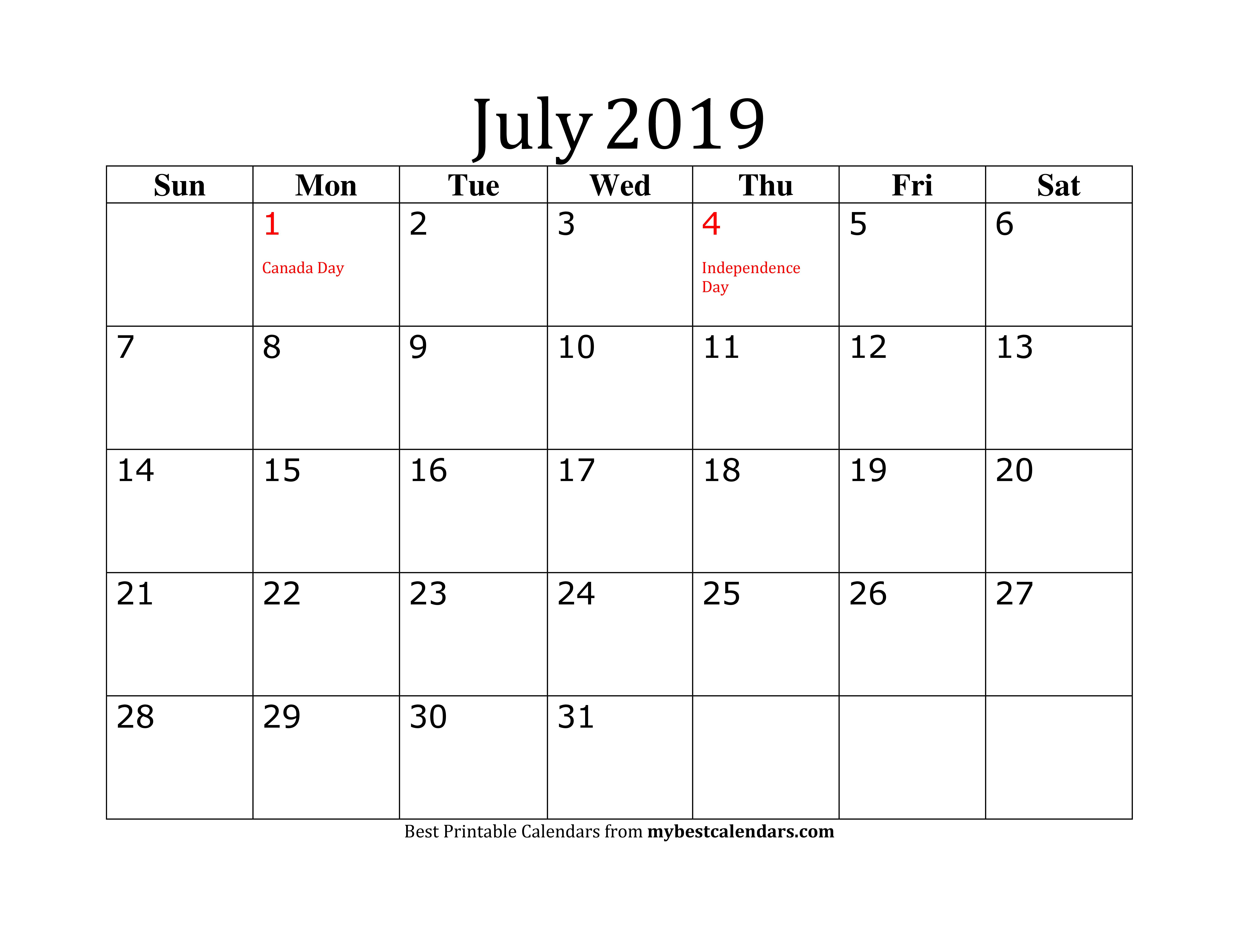 Editable July 2019 Calendar In Pdf, Word, Excel - Printable
