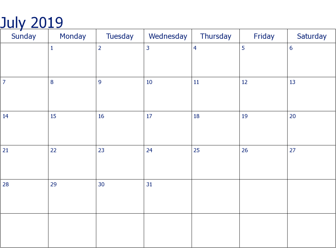 Editable July 2019 Calendar Weekly, Monthly Template