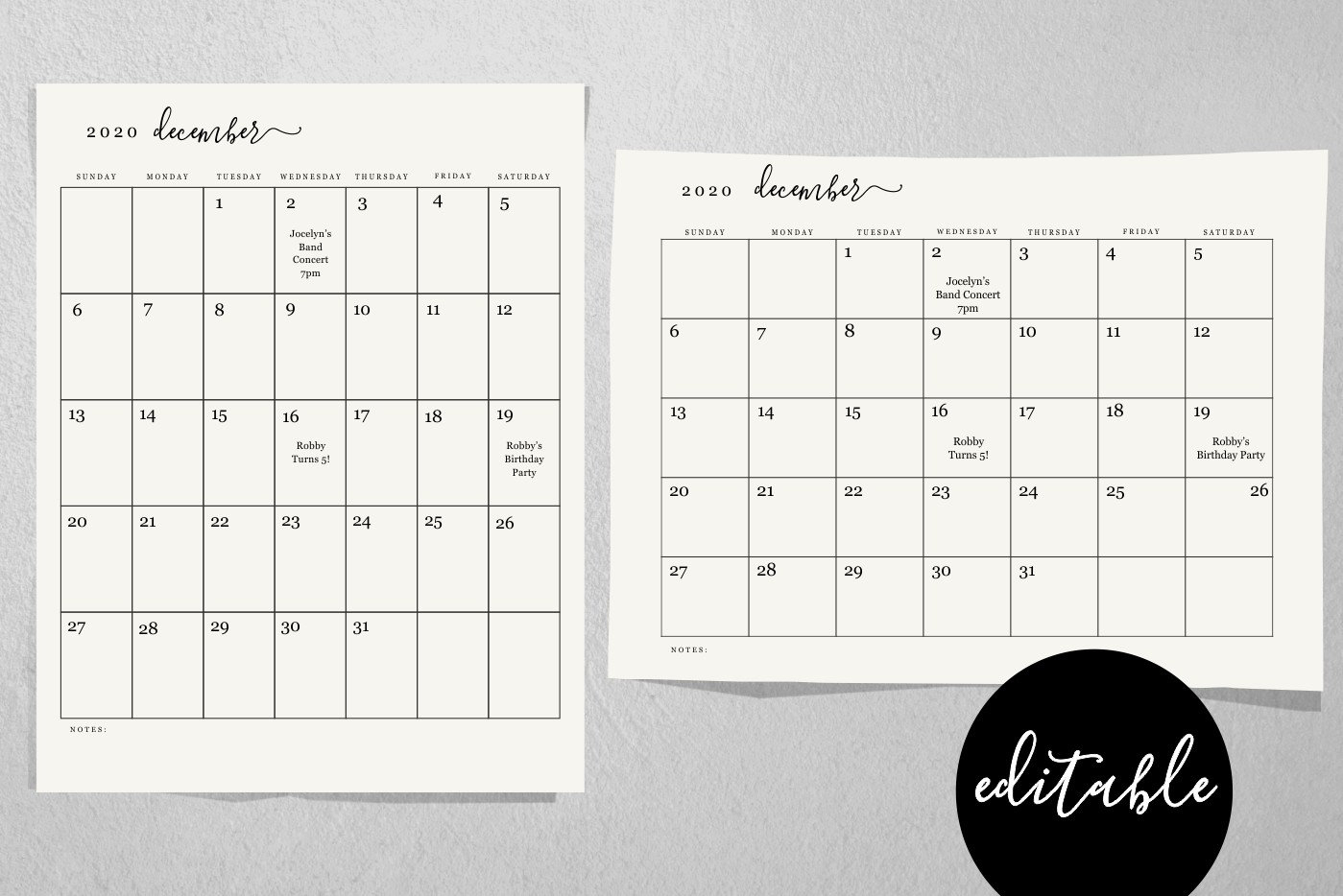 Editable Monthly Calendar Template - Printable 2019 And 2020 Desk Month  Calendar - Simple Black & White - Pdf Instant Download Digital File