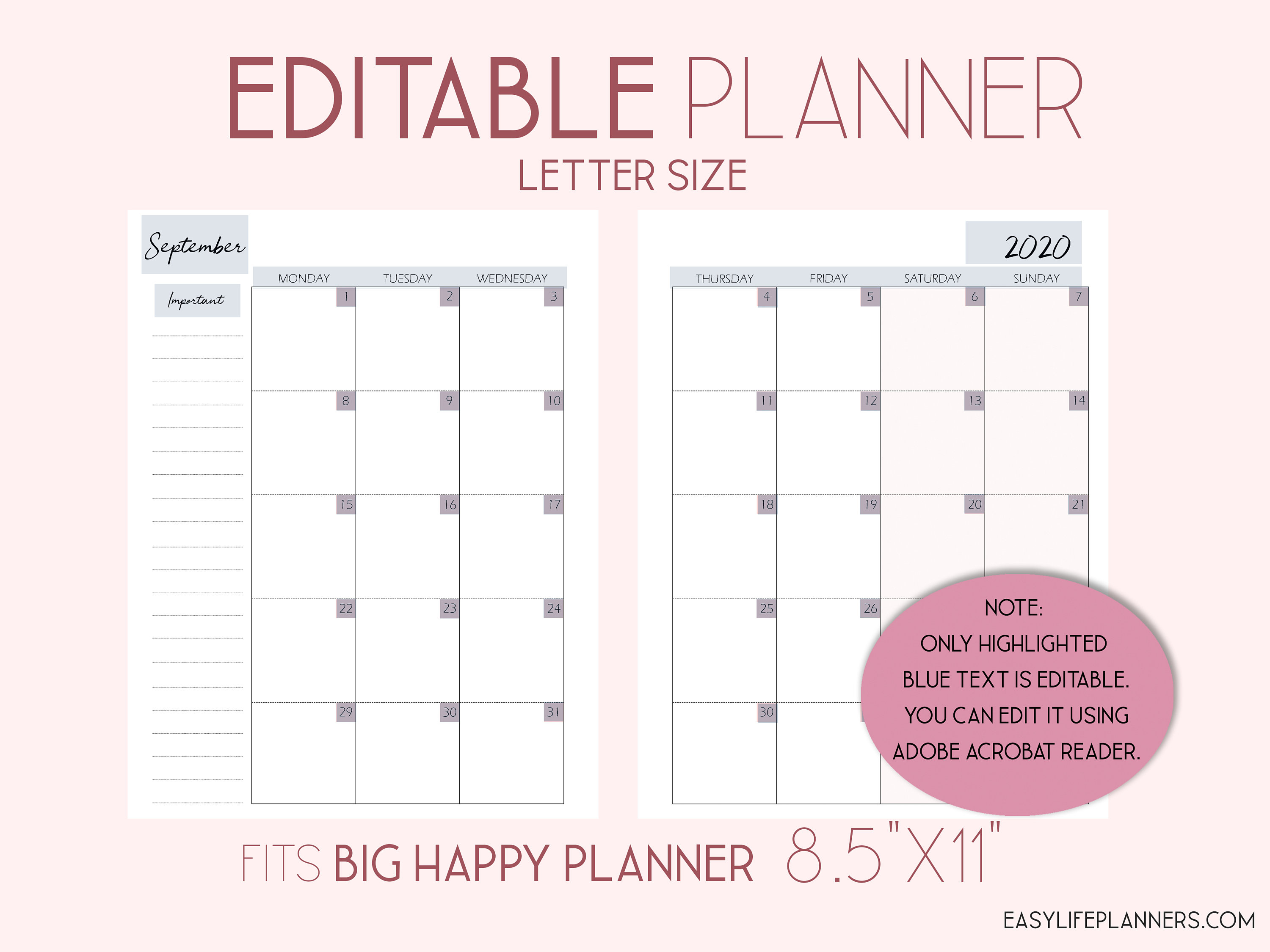 Editable Planner, 2020 Monthly Planner Pages, Monthly Layout