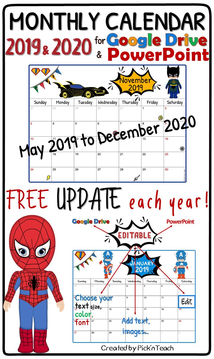 Editable Superhero Monthly Calendar 2019 & 2020 - Planner