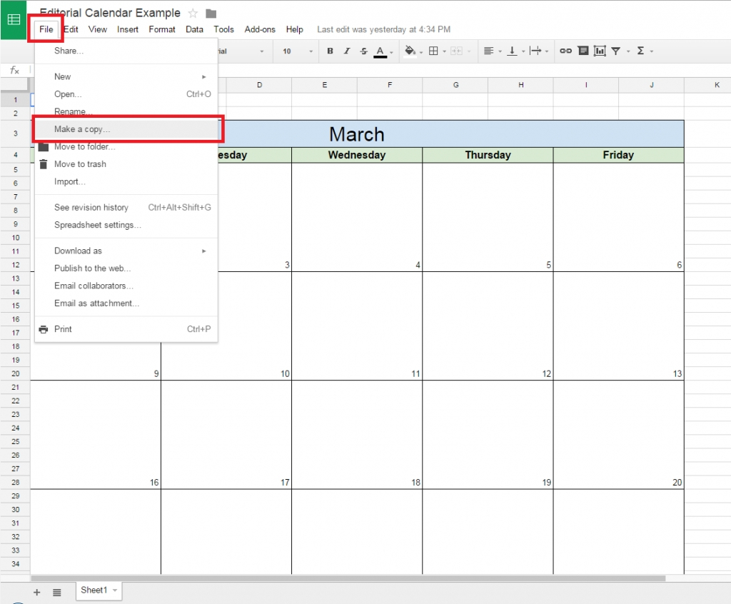 Editorial Calendar Template Google Sheets | Igotlockedout