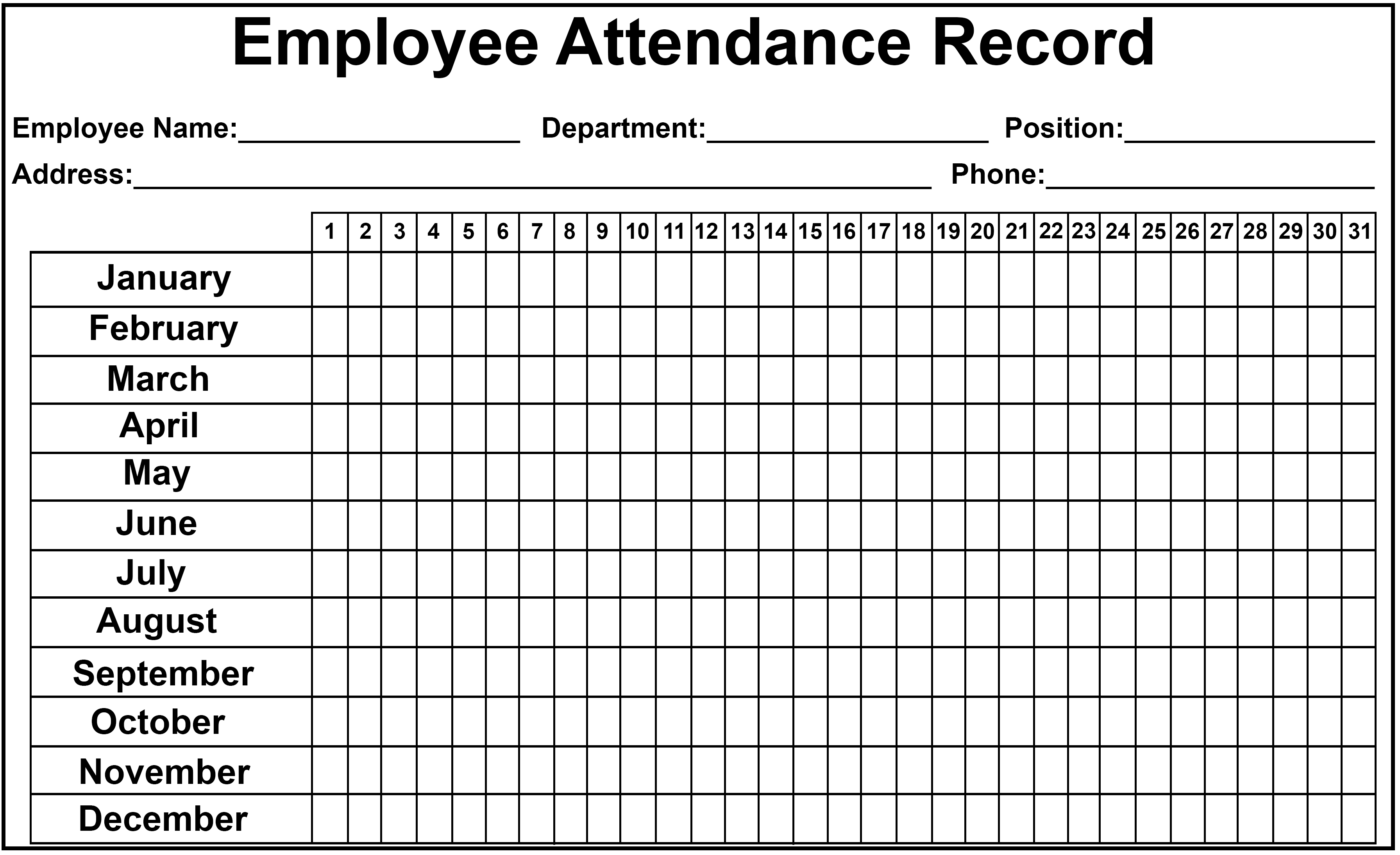 Unusual image with free printable employee attendance tracker
