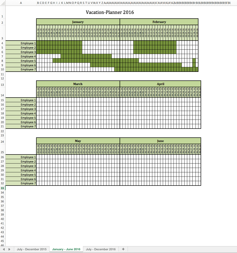 Employee Vacation Calendar Templates For Your Business : Violeet