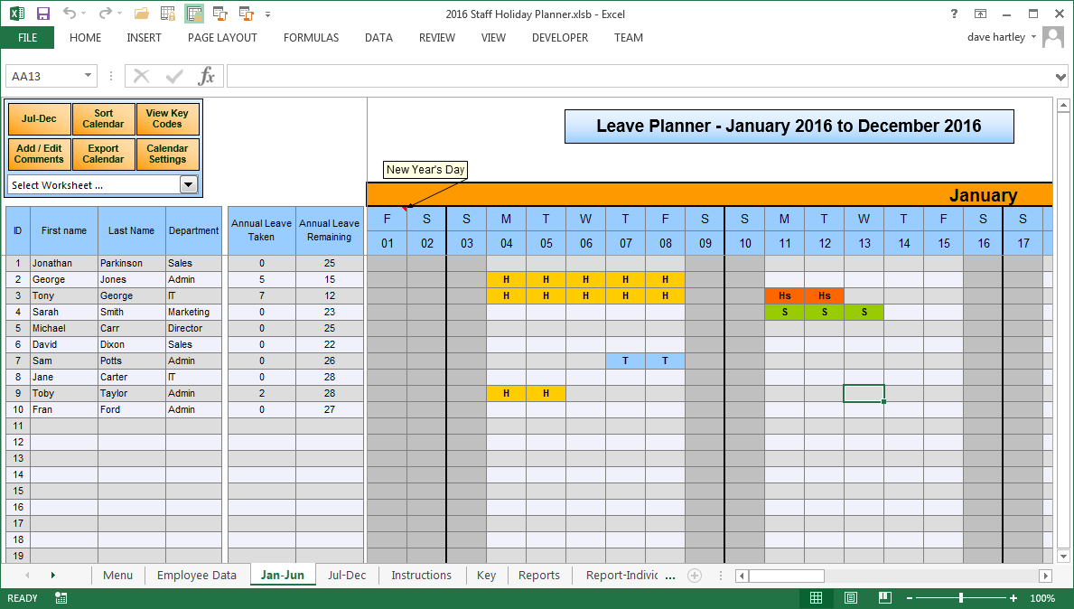 Employee Vacation Planner Template Excel – Teplates For
