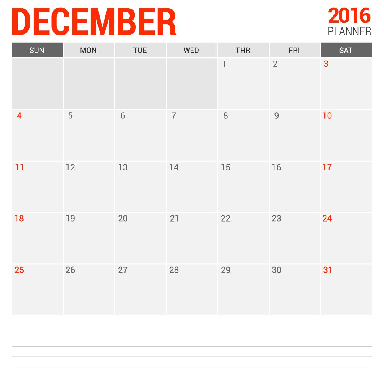 Empty Blank Calendar For December 2016 | Calendars 2018
