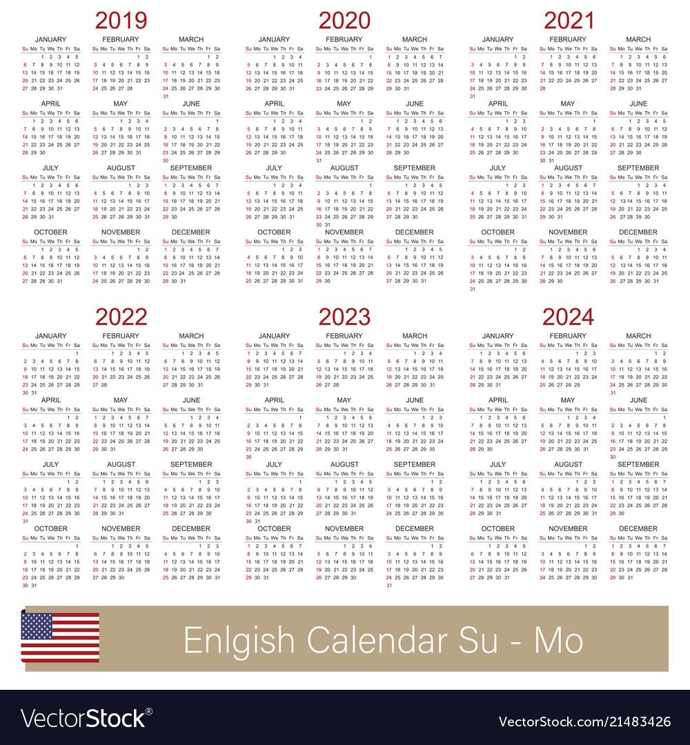 English Calendar 2019 - 2024 Vector Image