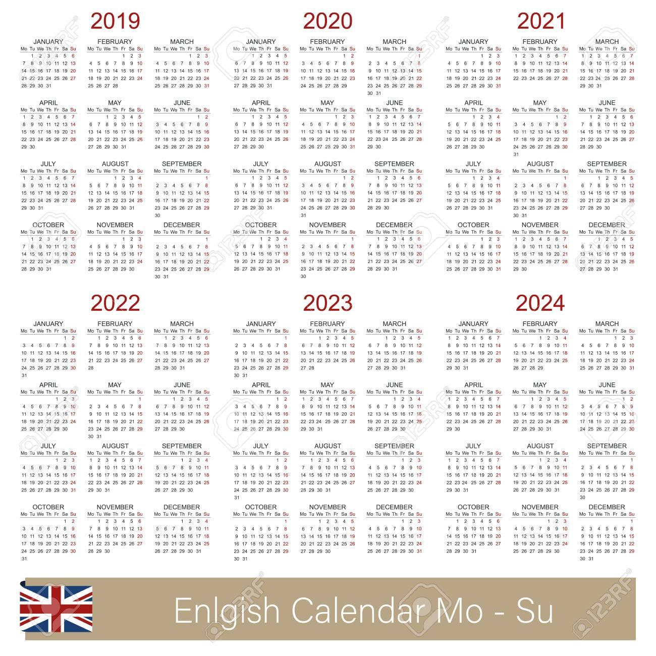 English Calendar 2019 - 2024, Week Starts On Monday, Simple Calendar..
