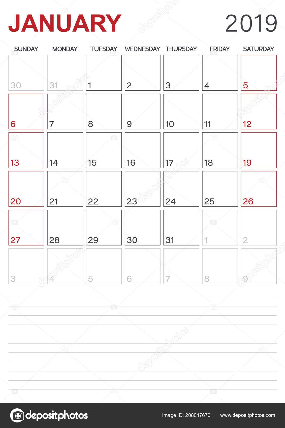 English Calendar 2019 Monthly Planner Calendar January 2019