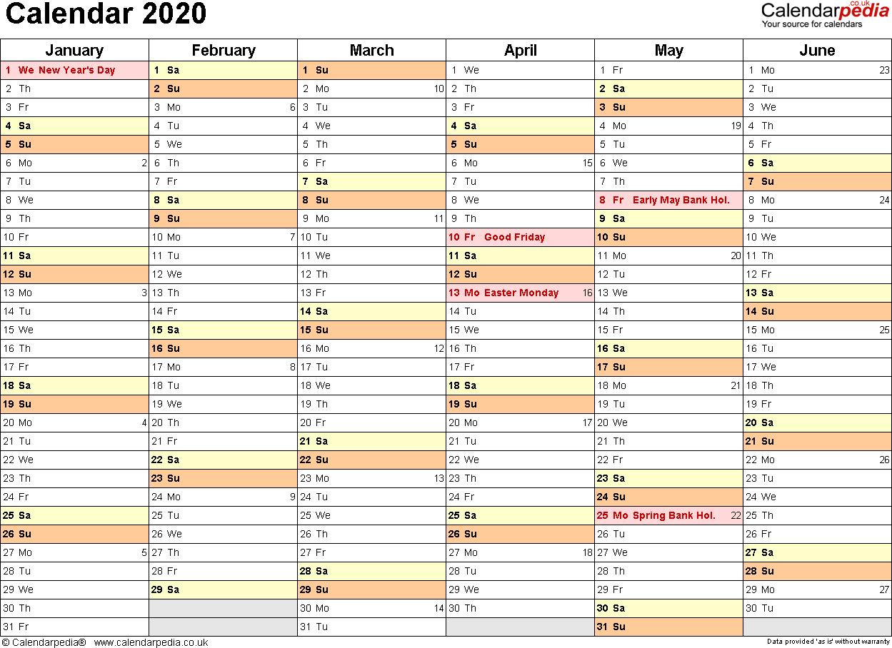 Excel Calendar 2020 (Uk): 16 Printable Templates (Xlsx, Free)