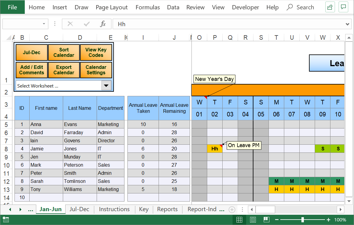 Excel Staff Leave Holiday Planner