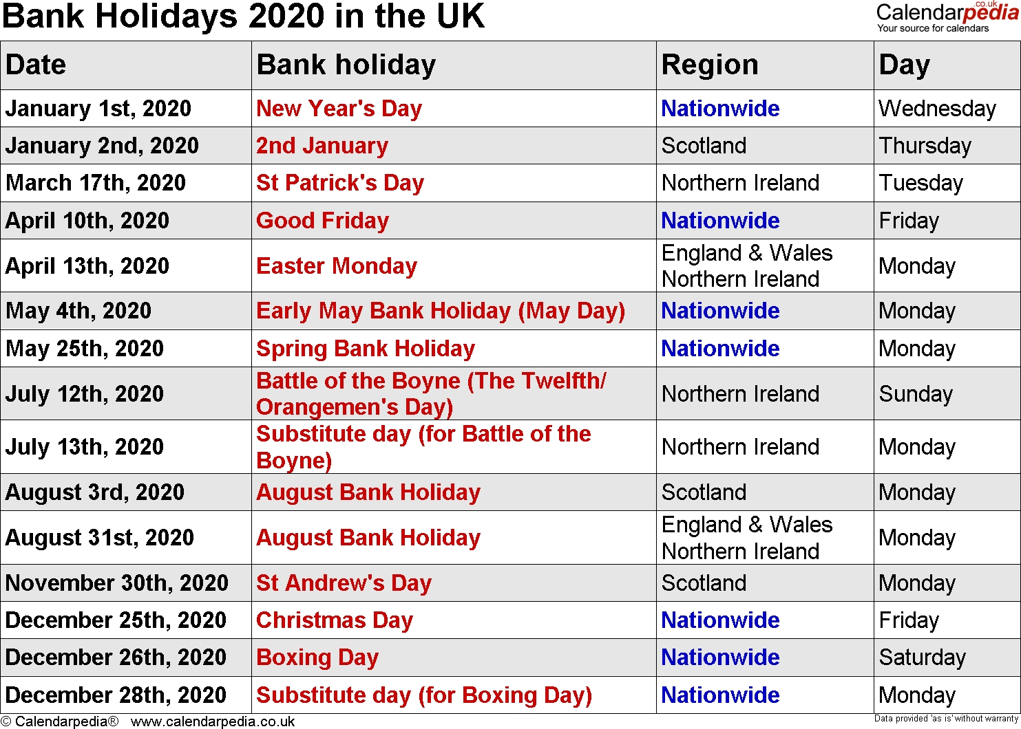 Exceptional 2020 Calendar Including Bank Holidays