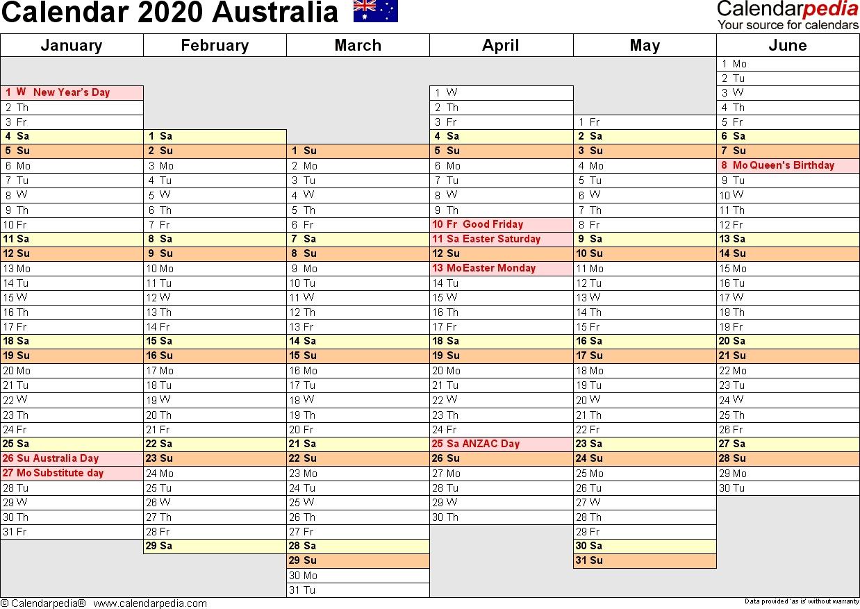 Extraordinary 2020 Calendar Template Australia • Printable