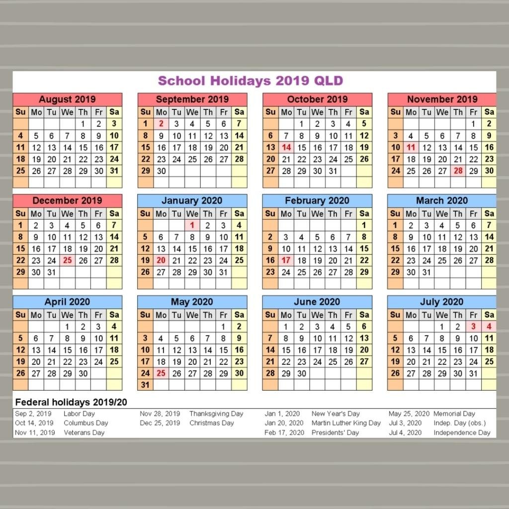 Extraordinary 2020 School Calendar Qld • Printable Blank