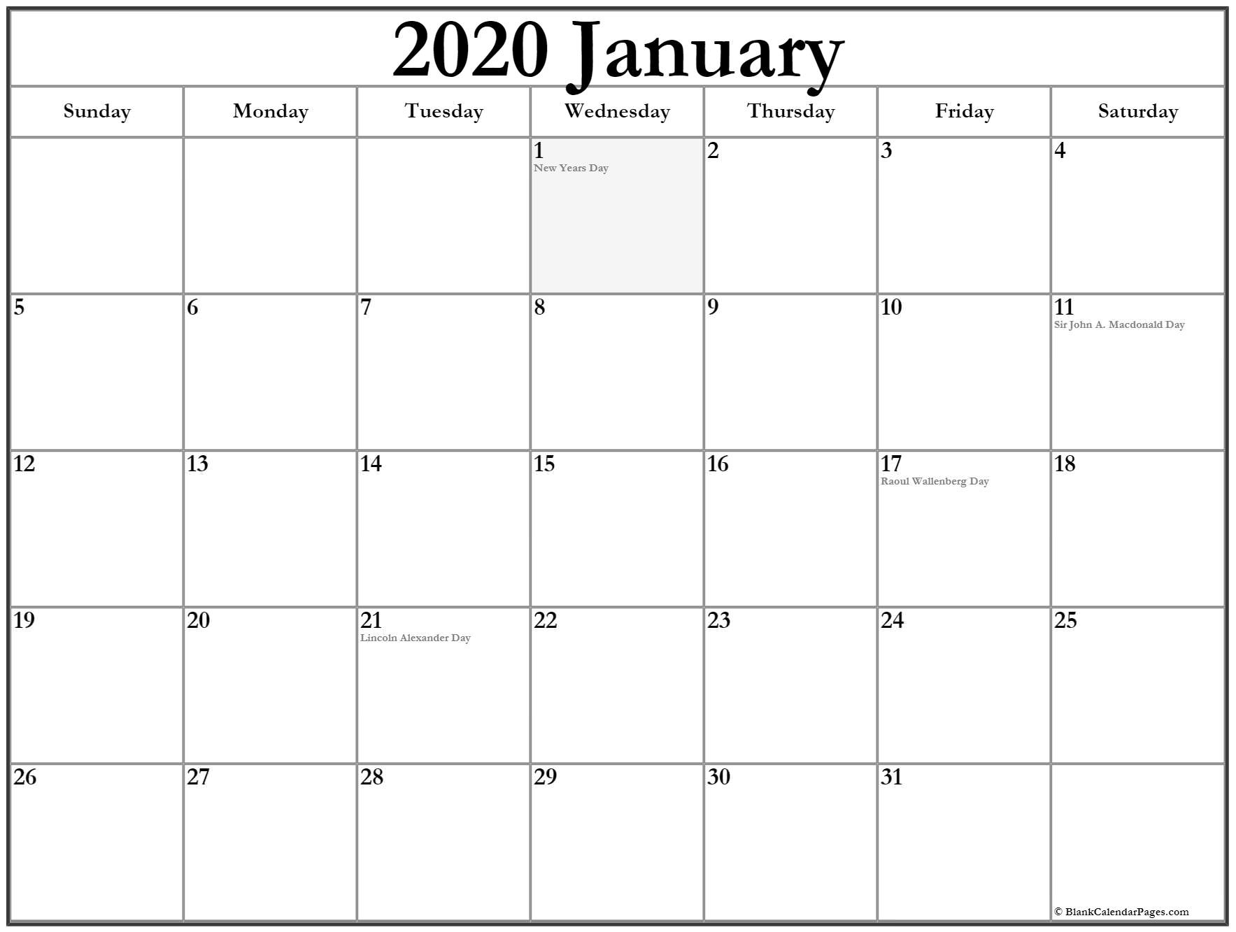 Extraordinary January 2020 Calendar Canada • Printable Blank