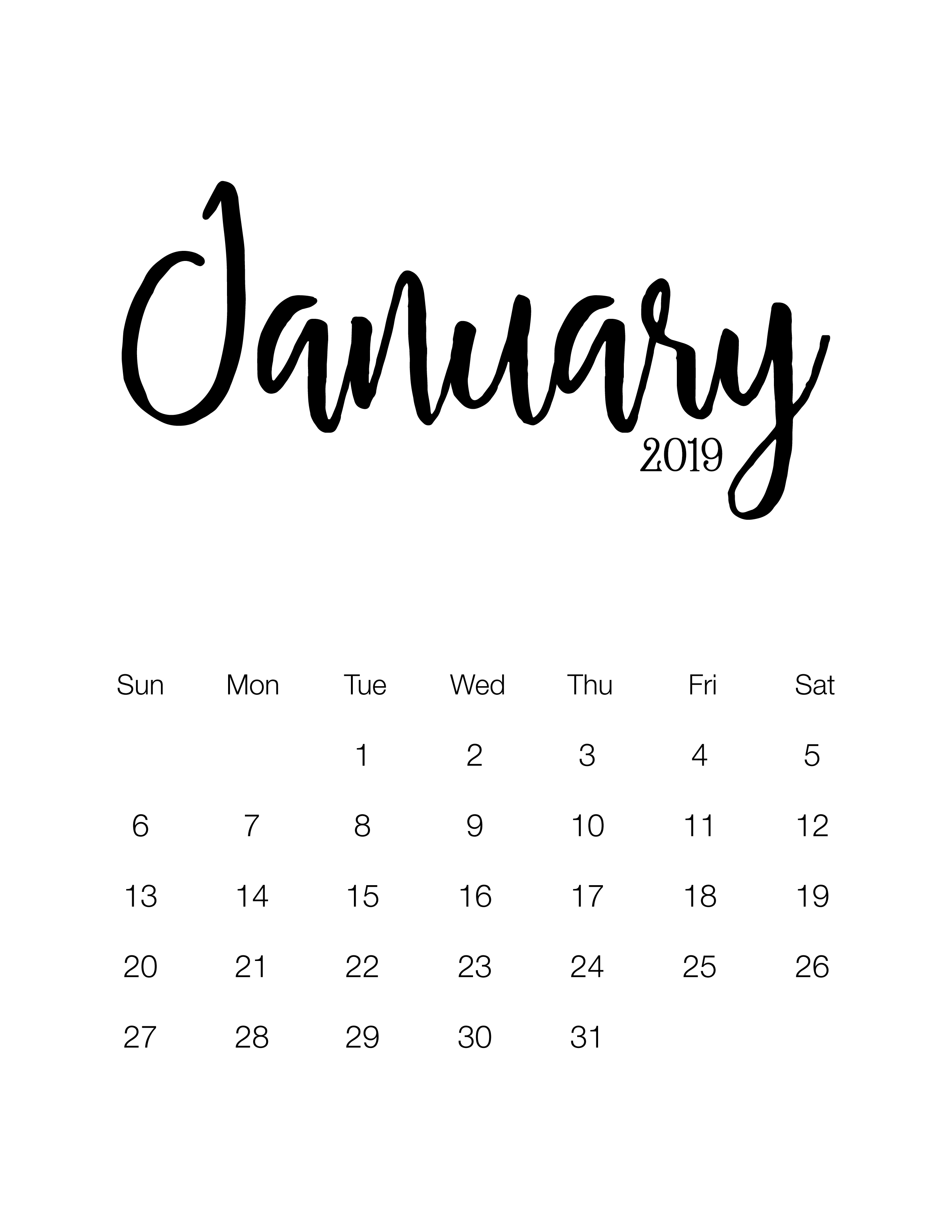 Fabulous And Free Printable 2019 Minimalistic Calendar - The