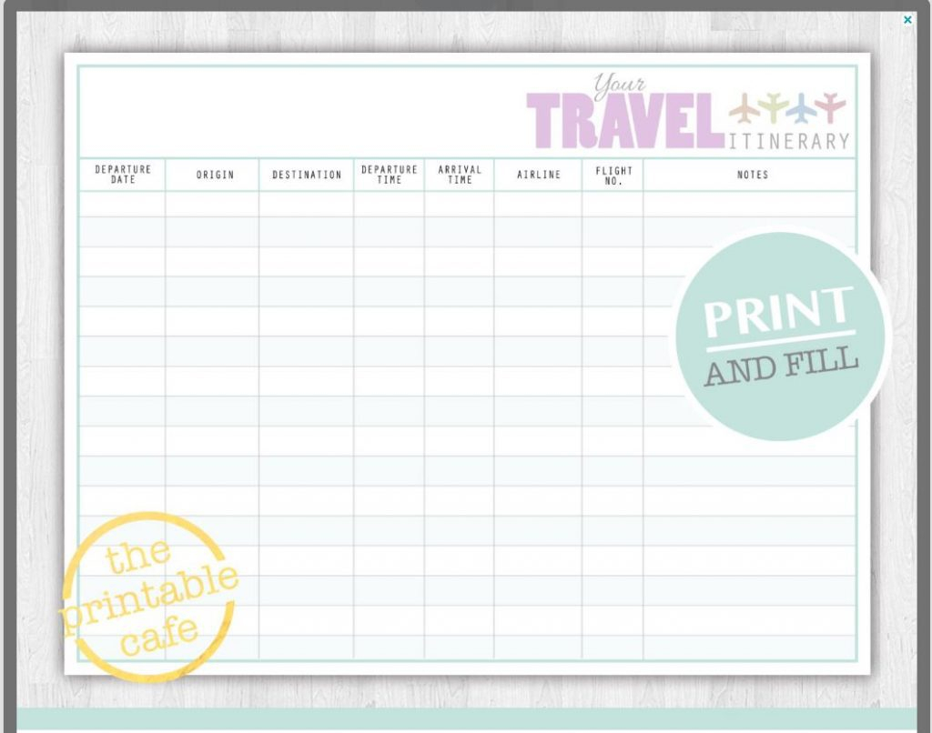 Family Vacation Itinerary Word Template Day 7 Travel Free