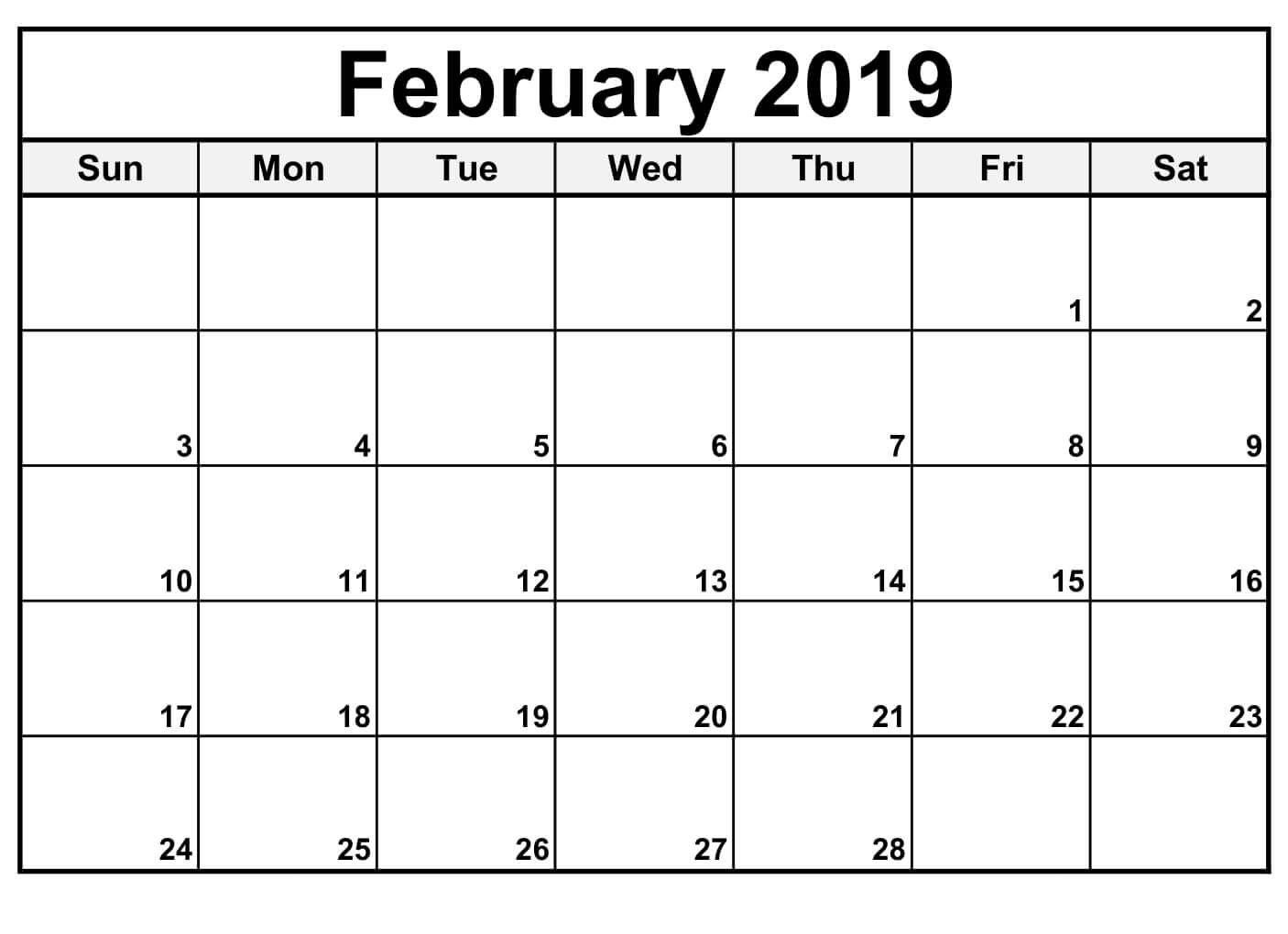 February 2019 Calendar Editable | Free Printable February