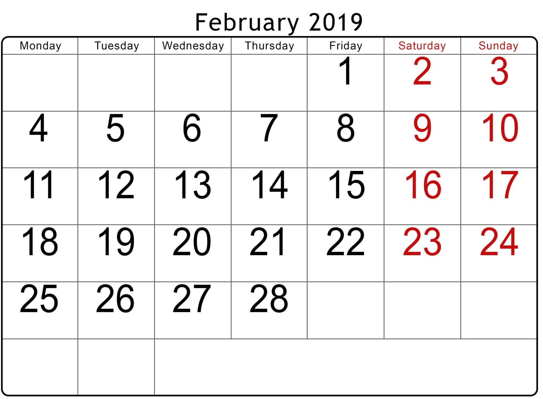 February 2019 Calendar Monday To Sunday - Printable Calendar
