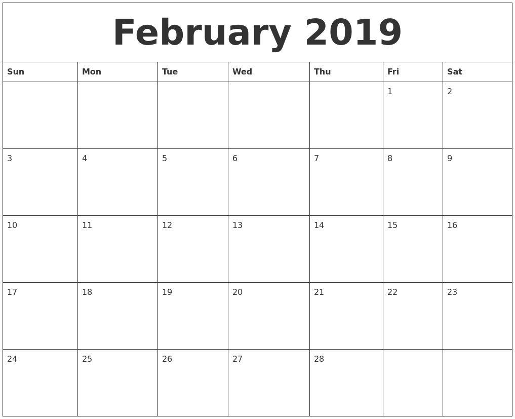 February 2019 Editable Calendar Template::february 2019