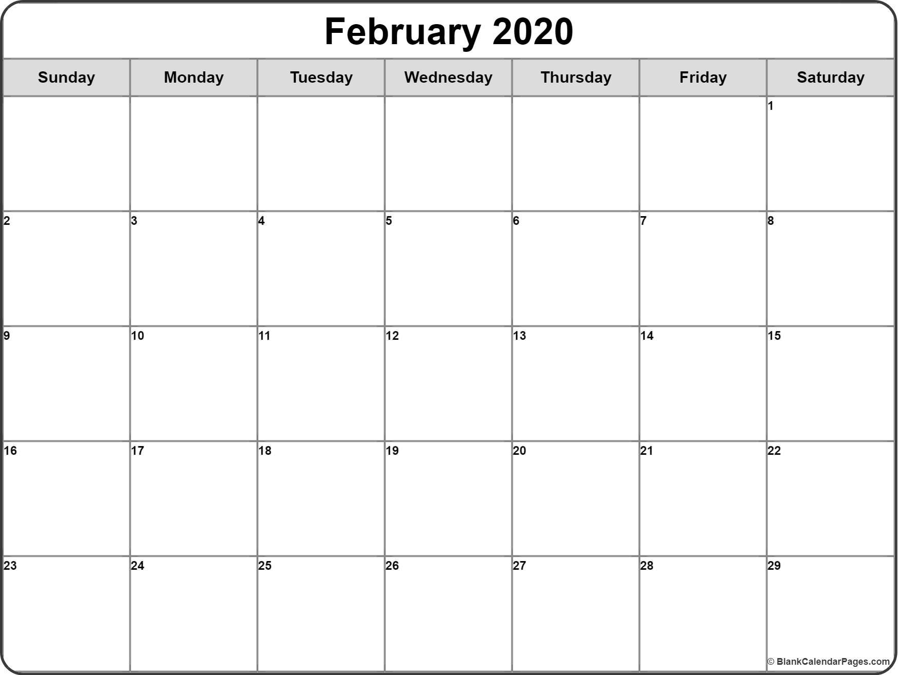 February 2020 Calendar | Free Printable Monthly Calendars