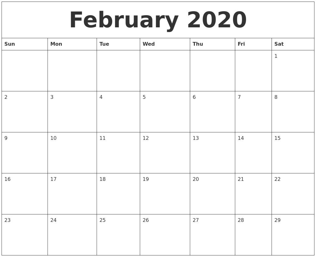 February 2020 Cute Printable Calendar