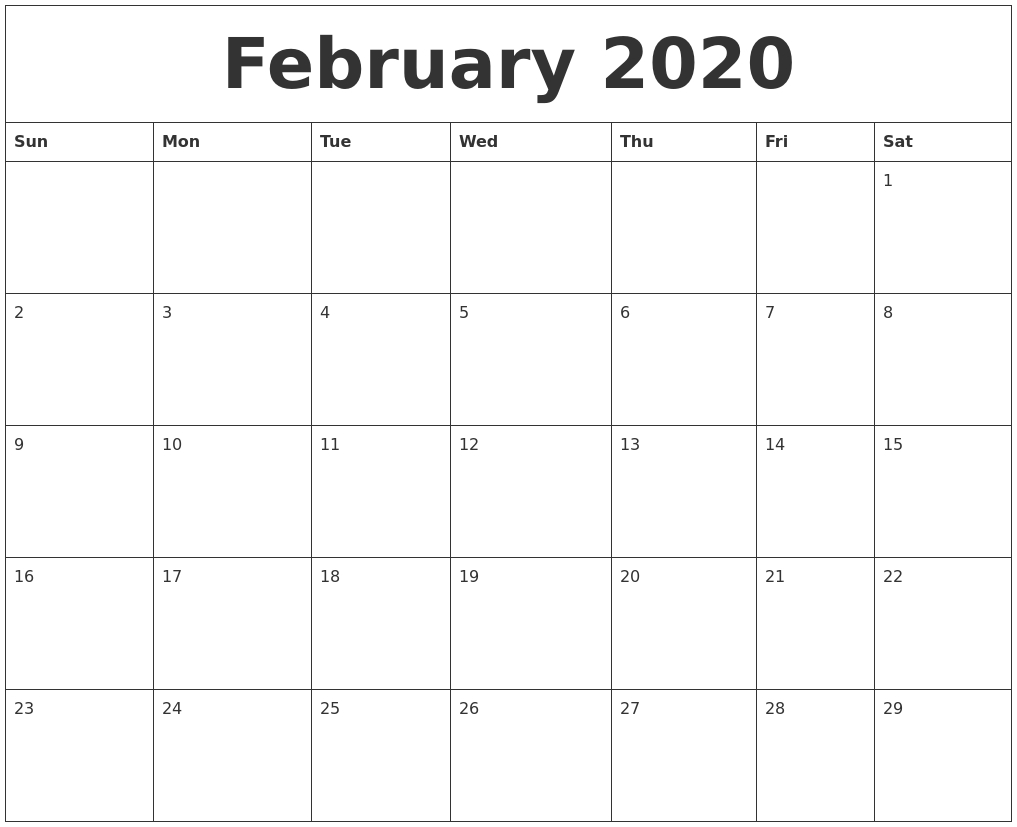 February 2020 Free Monthly Calendar Template