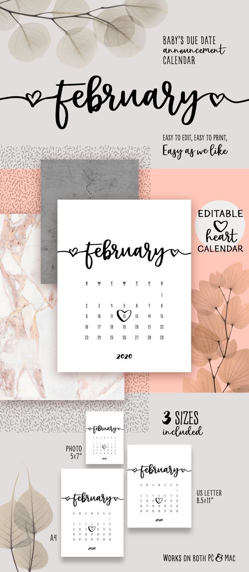 February 2020 Printable Pregnancy Calendar Lovely Baby Due Date  Announcement Calendar Pdf Reveal Baby Announce Birthday Printable Calendar