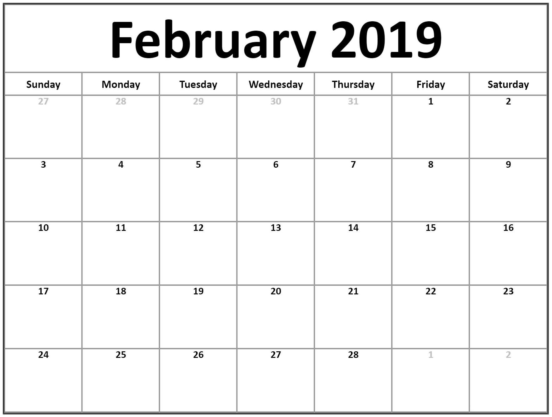 February Calendar 2019 For Office | February Calendar 2019