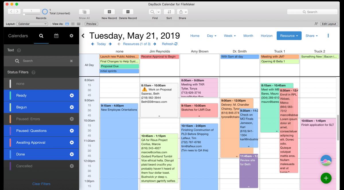 Filemaker Calendar And Resource Scheduling - Seedcode