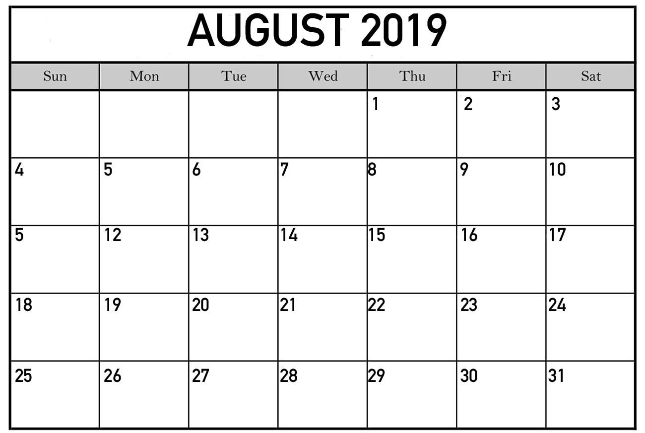 Fillable August 2019 Calendar Template Printable Pdf Word