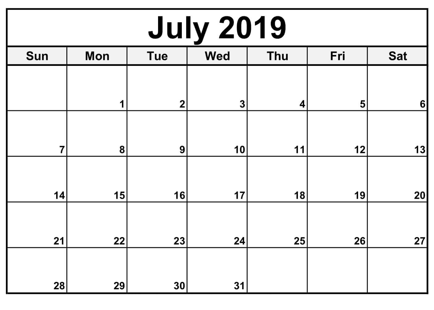 Fillable Blank July 2019 Calendar Printable Template - Free