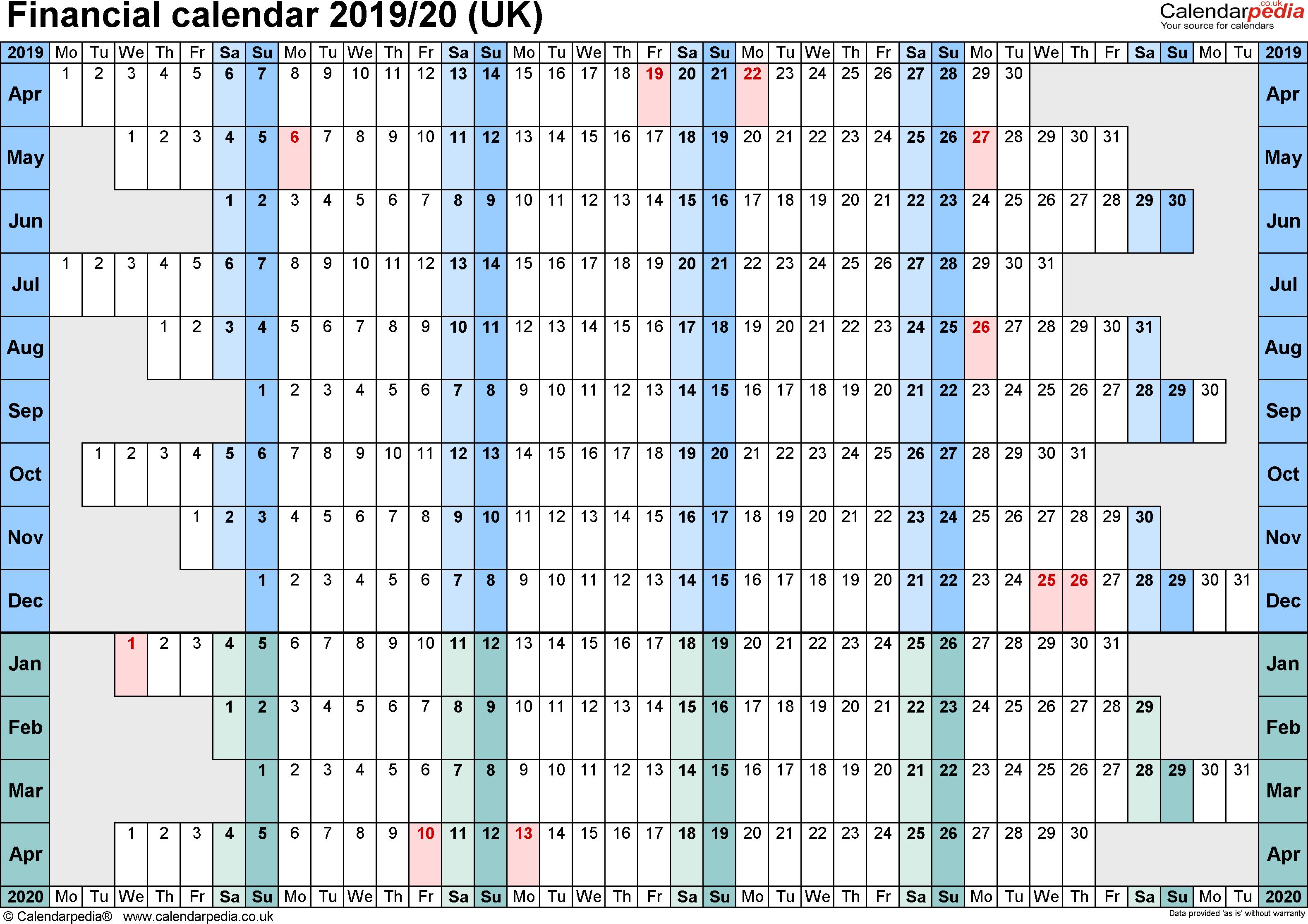 Financial Calendars 2019/20 (Uk) In Microsoft Excel Format