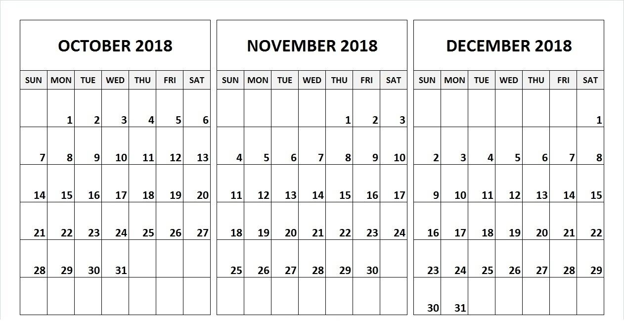 Fine Print Calendar October To December 2019 : Mini Calendar
