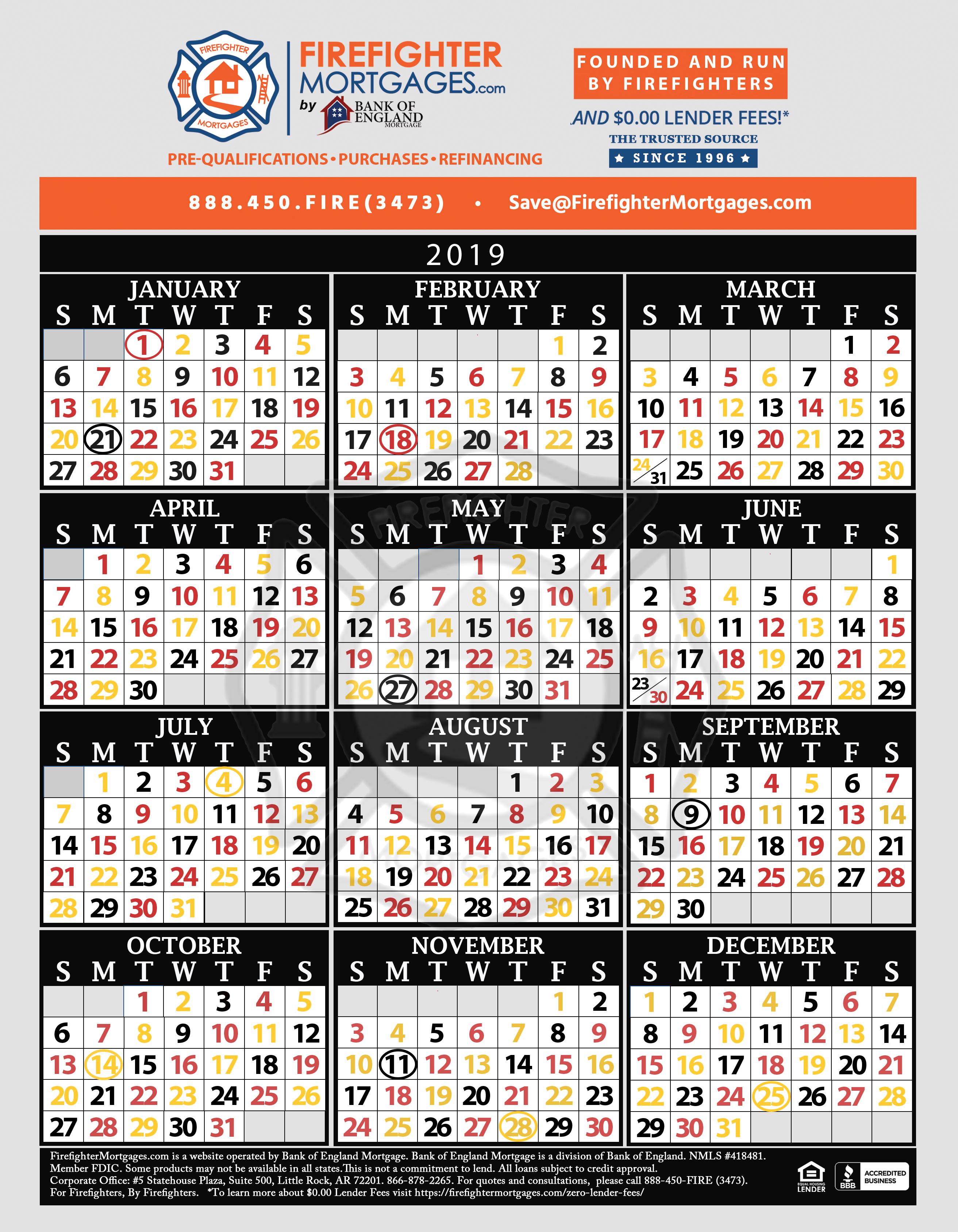 Firefighter Shift Calendar, Firefighter Calendar