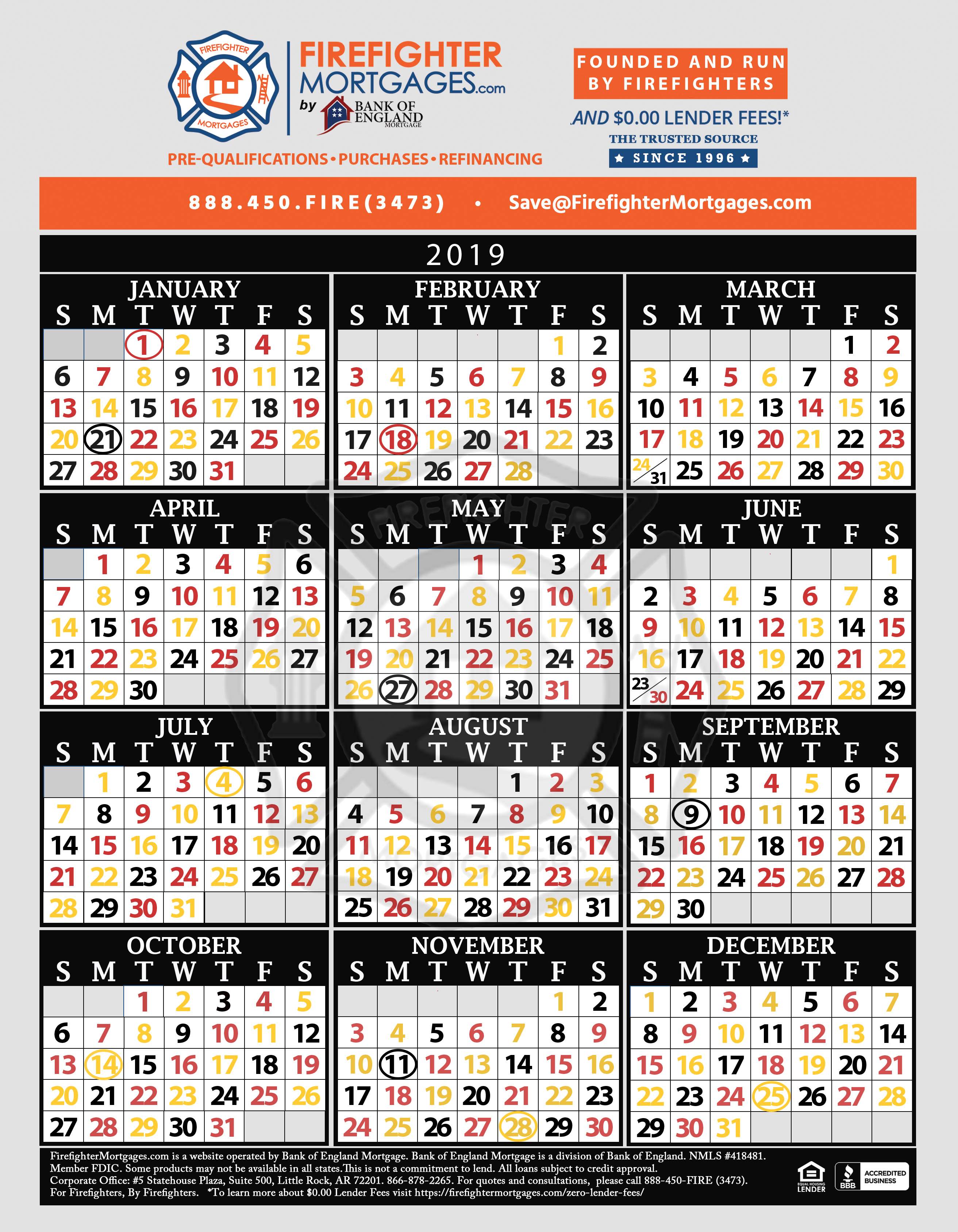 Firefighter Shift Calendar, Firefighter Calendar